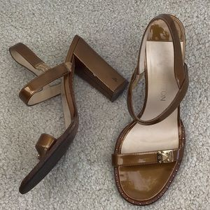 Louis Vuitton Gold Patent Heeled Sandals 36.5